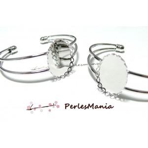 1 support de bracelet OVALE 18 par 25mm ARGENT PLATINE VAGUE
