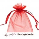 10 pochettes organza rouge GM ( 10 par 15cm ) pour bijoux, dragés....
