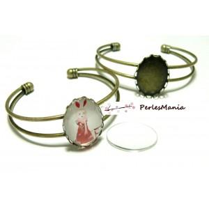 2 pièces: 1 support de bracelet OVALE 18 par 25mm BRONZE VAGUE et 1 cab