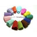 4 GROS pompons breloque passementière SUEDINE Multicolore 30mm