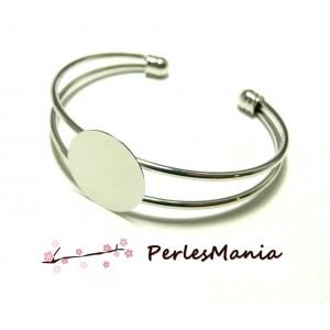 1 support de bracelet 16mm PLATEAU LISSE ARGENT PLATINE DIY