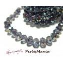 1 fil d'environ 70 perles à facettes rondelles en verre 6x8mm VIOLET IRISE 2J1407