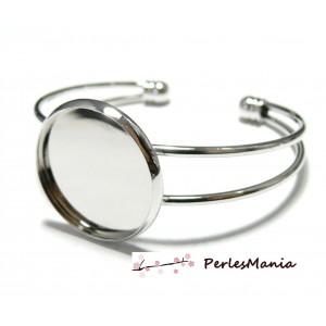 4 support de bracelet 20mm ARGENT PLATINE pour collage digitale