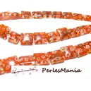 10 perles Plates carré Millefiori 12mm ORANGE