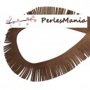 20 cm GALON FRANGE EN SUEDINE MARRON PAILLETE CREATION POMPONS 30mm