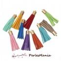 10 pompons breloque passementière LISSE 53mm suédine Multicolore DORE
