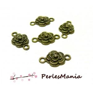 10 pendentifs connecteur fleur rose 2B7517 BRONZE breloques pour création de bijoux