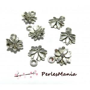10 pendentifs fleurs sculptée 10mm ref95 VIEIL ARGENT breloques DIY