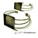 1 support de bracelet CARRE 20mm BRONZE pour collage digitale