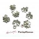 30 pendentifs fleurs sculptée 10mm ref95 VIEIL ARGENT breloques DIY