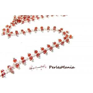 50cm Chaine Laiton ARGENT PLATINE et perles de verre ROUGE translucide ref 154