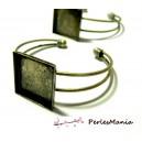 4 support de  bracelet  CARRE 18mm BRONZE pour collage digitale