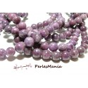 10 perles jade Mashan rondes 10mm Violet 39749-3