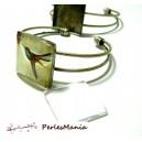 8 pièces: 4 support de  bracelet  CARRE 16mm BRONZE et 4 cabochon en verre, DIY