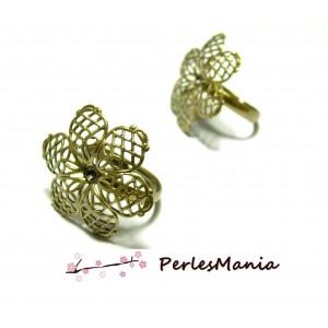 10 bagues Fleurs 3D BRONZE anneau fin ID31897