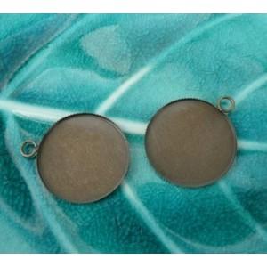 5 Supports de pendentif 30mm plateau bronze