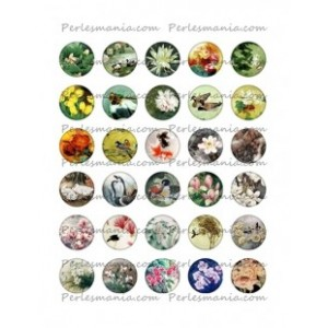 Collage Digital Nature retro Rond 20mm