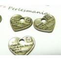 10 pieces pendentifs message coeur BR ref A15447
