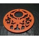 2 grands pendentifs ref 033Y papillon bois  orange dentelle