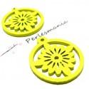 Apprêt bijoux 6 pendentifs ref P414Y fleurs bois jaune