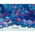 Offre spéciale: 1 fil environ 100 perles de verre craquelé ref 38 bleu rose 8mm