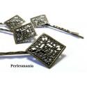 Apprêt bijoux: 10 Supports de barrette dentelle losange 19mm Bronze