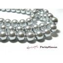 1 fil d'environ 110 perles de verre nacré GRIS  8mm PB97