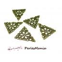 10 pendentifs connecteur breloques triangle dentelle fleur 2Y6112 Bronze