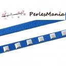 1 Mètre SUEDINE BLEU ELECTRIQUE CLOU  CARRES ARGENTES 6.7x2mm, DIY