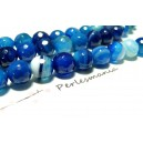 2 perles Agate du brésil facettée bleu 16mm, DIY