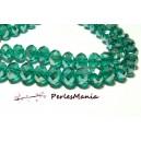 30 perles à facettes rondelles en verre  4 par 6mm EMERAUDE 2J1344