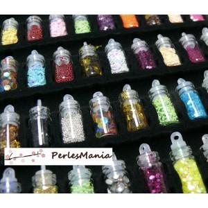 12 mini flacons fioles micro bille, strass, paillette NAIL ART, DIY