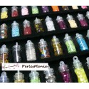 12 mini flacons fioles micro bille, strass, paillette NAIL ART, DIY
