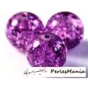 20 perles RONDE en verre CRAQUELE 8mm VIOLET, DIY
