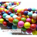 1 fil d'environ 65  perles environTurquoise Howlite mulitcolor  6mm