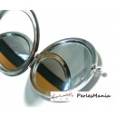 5 support Miroir de poche, miroir de sac en acier inoxydable. 70mm de diamètre