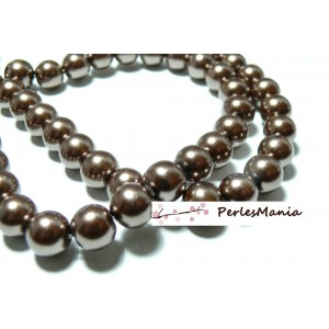 1 fil d'environ 210 perles de verre nacré CAFE BRONZE 4mm PB47