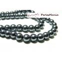 1 fil d'environ 140 perles de verre nacré GRIS FONCE 6mm PB19