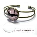 2 pièces: 1 support de bracelet qualité 16mm bronze et 1 cabochon en verre