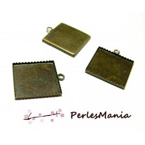 20 SUPPORTS de pendentif plateau CARRE 20mm métal couleur BRONZE