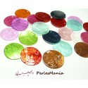 Apprêt 20 pendentifs nacre sequins ref P25D2 multicolore en 25mm