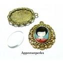 20 pièces: 10 pendentifs retro métal couleur Or Antique  et 10 cabochons en verre transparents en 13 par 18mm PA16474
