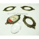 10 pièces:5 pendentifs cadre vintage ref A18835 et 5 cab