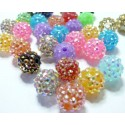 2 perles orange clair shamballa 12*14mm