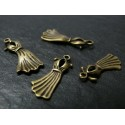6 pièces pendentof breloque Robe retro Bronze
