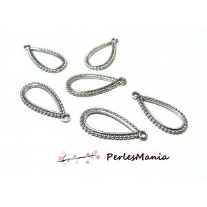 20 pendentifs goutte picot PM Vieil argent 2Y7116 pour création de bijoux