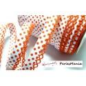 1 m ruban biais dentelle Pois orange et blanc 12mm ref 71486 couleur 495