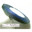 1 rouleau de 22 mètres ruban satin Bleu pailletté doré 6mm PY012