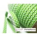 1 m ruban biais dentelle Pois Vert pomme et blanc 12mm re 71486 couleur 56