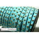 3 mètre de cordon de suédine cloutée doré aspect Daim Bleu PR00202